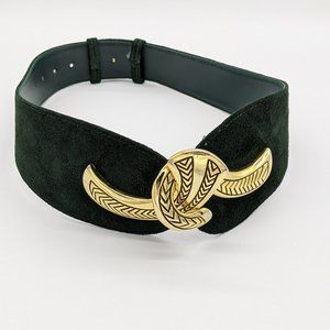 Vintage Green Suede Belt Gold Closure Clasp
